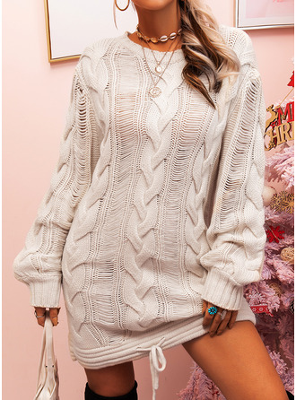 Round Neck Casual Long Solid Cable-knit Sweaters
