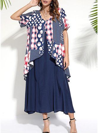 Print Shift Short Sleeves Maxi Casual Dresses