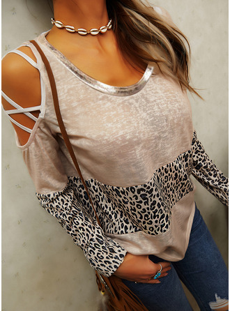 Leopard Color Block Cold Shoulder Long Sleeves Casual Blouses
