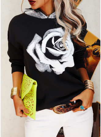 Floral Print Sequins Long Sleeves Hoodie (1001255224)