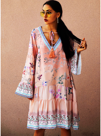 Floral Print Shift Long Sleeves Midi Casual Vacation Tunic Dresses