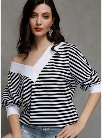 Striped Long Sleeves Cotton V Neck Knit Blouses