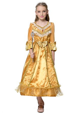 A-Line/Princess Ankle-length Flower Girl Dress - Polyester Long Sleeves Scoop Neck
