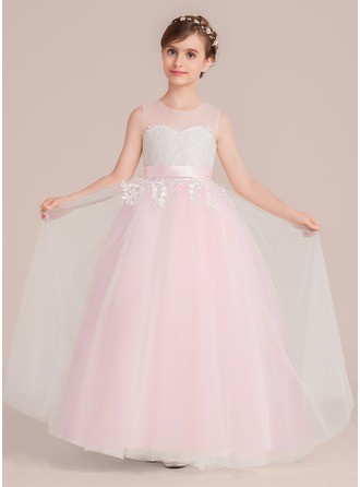 Scoop Neck Floor-Length Junior Bridesmaid Dress With Sash