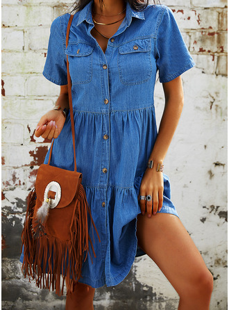 Solid Shift Short Sleeves Midi Denim Casual Shirt Dresses