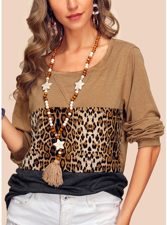 Leopard Color Block Round Neck Long Sleeves Casual T-shirt