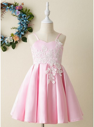 A-Line Knee-length Flower Girl Dress - Satin/Lace Sleeveless V-neck With Appliques/Flower(s)