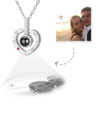 Custom Sterling Silver Heart Projection Photo Necklace With Cubic Zirconia - Mother's Day Gifts