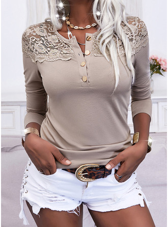 Lace Solid Round Neck Long Sleeves Button Up Casual Blouses