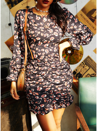 Floral Print Sheath Long Sleeves Mini Casual Dresses
