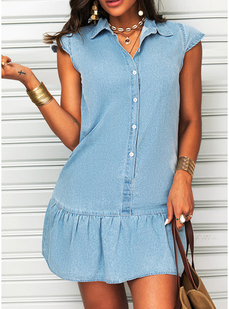 Solid Shift Short Sleeves Mini Casual Shirt Dresses