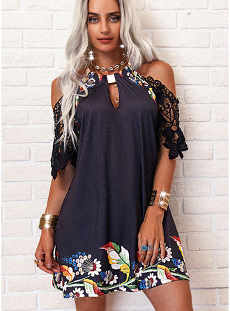 Floral Lace Print Shift 1/2 Sleeves Mini Casual Tunic Dresses