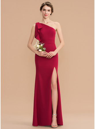 Sheath/Column One-Shoulder Floor-Length Stretch Crepe Bridesmaid Dress With Split Front