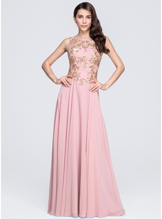 A-Line/Princess Scoop Neck Floor-Length Chiffon Evening Dress With Appliques Lace Sequins