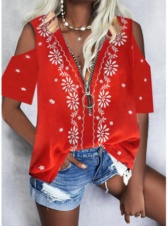 Floral Print Cold Shoulder 1/2 Sleeves Casual Blouses