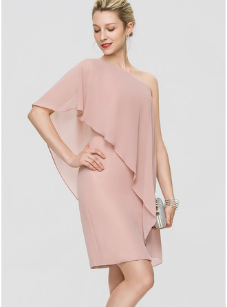 Sheath/Column One-Shoulder Knee-Length Chiffon Cocktail Dress With Cascading Ruffles