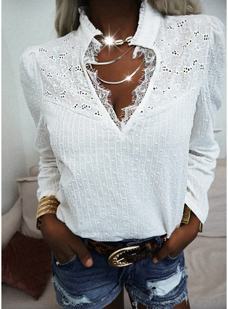 Lace Solid Hollow-out V-Neck 3/4 Sleeves Casual Blouses