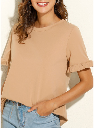 Solid Round Neck Short Sleeves Casual T-shirt