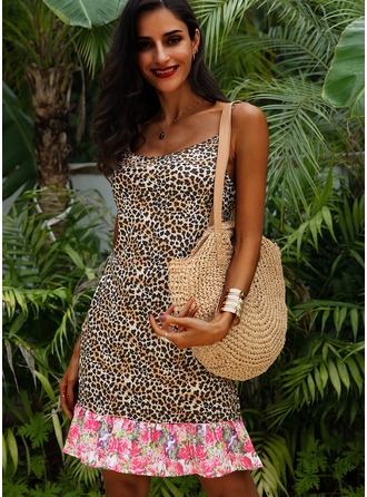 Leopard Floral Shift Sleeveless Mini Casual Vacation Type Dresses