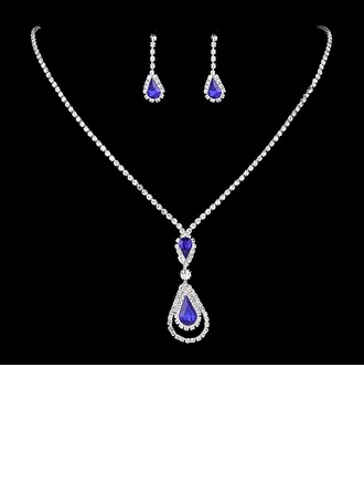 Chic Copper/Silver Plated With Rhinestone Ladies' Jewelry Sets