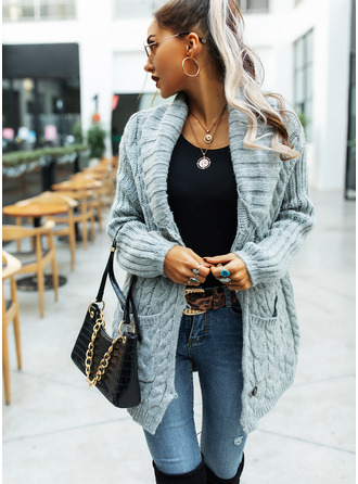 Casual Long Solid Cable-knit Chunky knit Pocket Sweaters