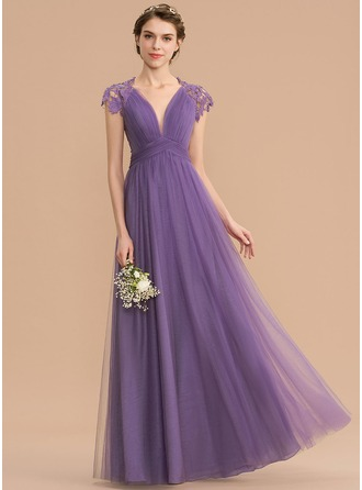 A-Line V-neck Floor-Length Tulle Lace Bridesmaid Dress With Ruffle