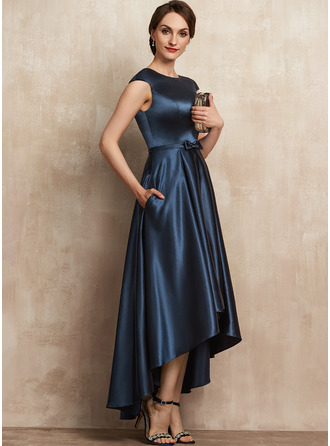 A-Line Scoop Neck Asymmetrical Satin Mother of the Bride Dress With Bow(s) Pockets
