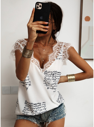 Print Patchwork Lace Sleeveless Polyester V Neck Tank Tops Blouses
