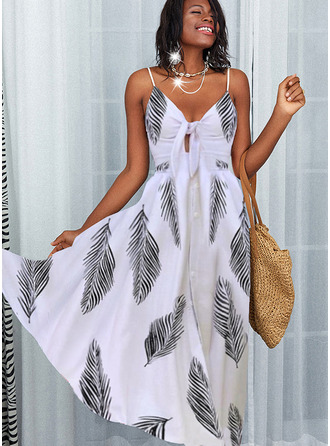 Print A-line Sleeveless Maxi Party Skater Type Dresses