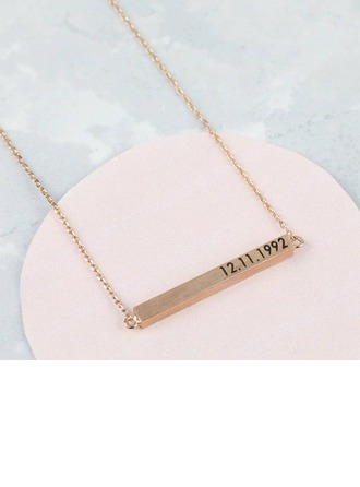 Personalized Ladies' Chic 925 Sterling Silver Bar Necklaces Necklaces For Bridesmaid/For Friends/For Couple