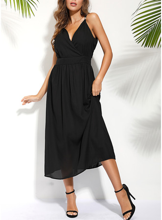Solid Sheath Sleeveless Maxi Little Black Vacation Type Dresses