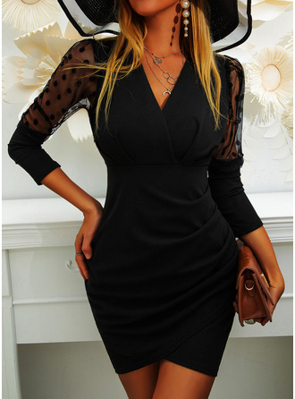 PolkaDot Solid Bodycon Long Sleeves Puff Sleeves Mini Little Black Party Elegant Dresses