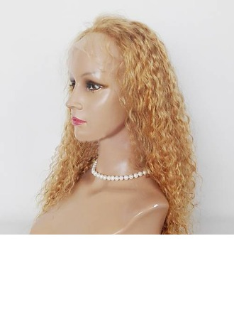 4A Non remy Kinky Curly Human Hair Full Lace Wigs
