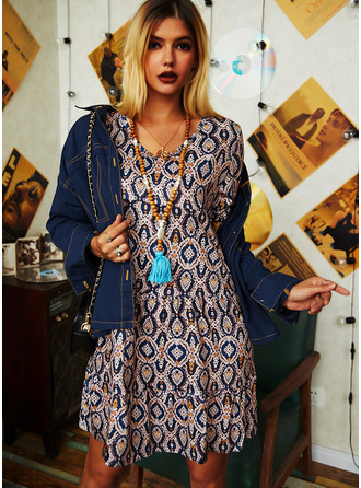 Print Shift Long Sleeves Midi Casual Tunic Dresses