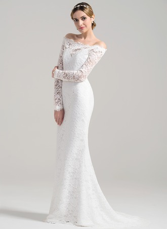 Sheath/Column Off-the-Shoulder Sweep Train Lace Wedding Dress