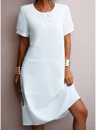 Solid A-line Short Sleeves Midi Casual Vacation Skater Dresses