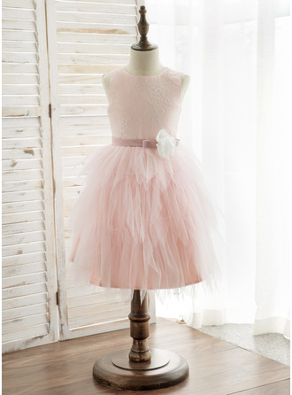 Princesový Po kolena Flower Girl Dress - Tyl/Krajka Bez rukávů Scoop Neck S Květiny