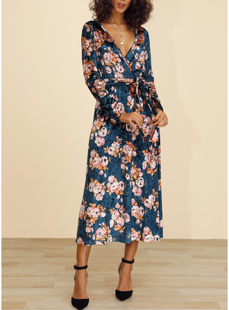 Floral Print A-line Long Sleeves Midi Casual Elegant Skater Wrap Dresses