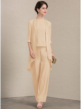 A-Line Scoop Neck Ankle-Length Chiffon Mother of the Bride Dress With Lace