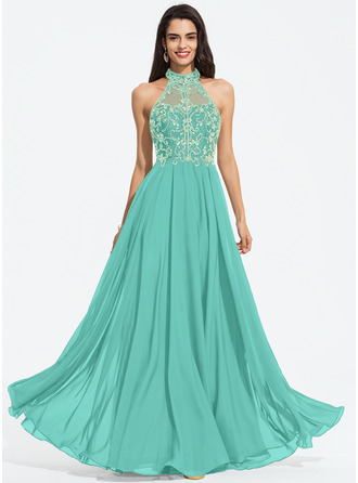 A-Line High Neck Floor-Length Chiffon Prom Dresses With Beading
