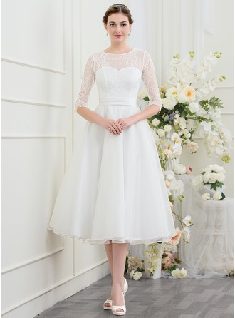 A-Line/Princess Scoop Neck Tea-Length Organza Wedding Dress With Beading
