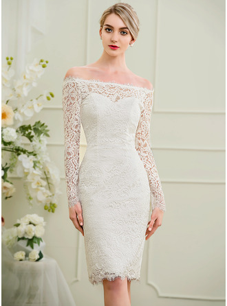 Sheath/Column Off-the-Shoulder Knee-Length Lace Wedding Dress