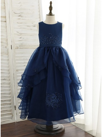 A-Line Ankle-length Flower Girl Dress - Organza/Satin/Lace Sleeveless Scoop Neck With Sequins