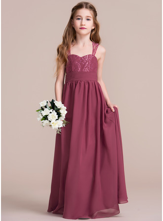 A-Line/Princess Floor-length Flower Girl Dress - Chiffon/Lace Sleeveless Sweetheart With Ruffles