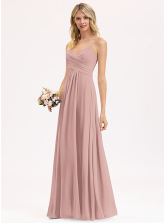 V-Neck Dusty Rose Chiffon Chiffon Dresses