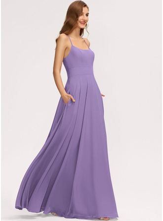 A-Line Scoop Neck Floor-Length Chiffon Bridesmaid Dress With Pockets