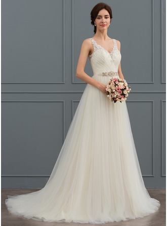 Ball-Gown V-neck Sweep Train Tulle Wedding Dress With Beading Pleated
