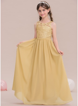 A-Line/Princess Scoop Neck Floor-Length Chiffon Junior Bridesmaid Dress