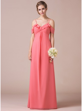 A-Line/Princess Off-the-Shoulder Floor-Length Chiffon Prom Dress With Cascading Ruffles