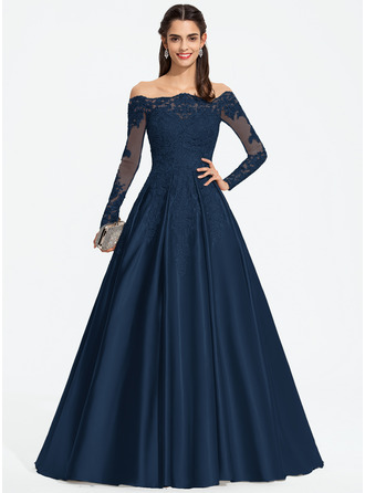 Ball-Gown/Princess Off-the-Shoulder Sweep Train Satin Prom Dresses With Sequins